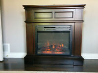 Electric Fireplace in Wood Surround