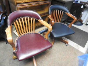 antique vintage Krug swivel office chairs 1950's new leather