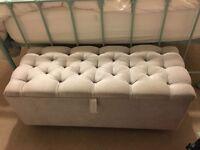 Vintage upholstered blanket box ottoman