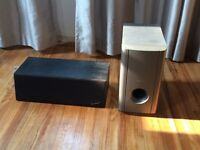 Mirage middle speaker and pioneer subwoofer. $50 for both.