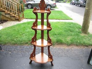 ANTIQUE TOASTER-TALL WOODEN 4 TIER CORNER STAND