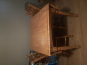 Space saver solid wood table and 2 chairs