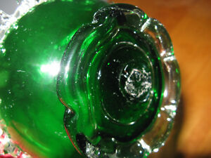 Handblown Green Art Glass bottle with applied details London Ontario image 4