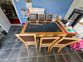 Beech &leather top dining room table &6 oak& leather chairs £125