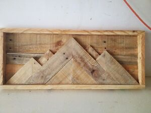 MOUNTAINSCAPE RUSTIC WOOD PICTURE RECLAIMED WOOD