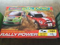 Micro scalextric rally power Ford Focus v Mini NEW