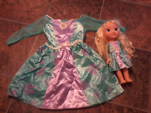Frozen Elsa Doll with Matching 3T-4T Dress, Dress never used!