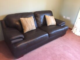 Leather 3 seater sofa (brown)