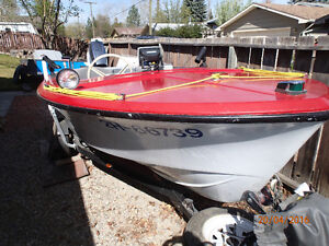 14 Foot Boat with 70 HP Evinrude Motor