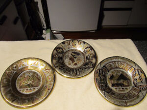 Set of 3 Edyptian etched brass & copper wall arts.