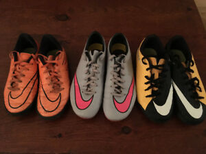 Nike soccer cleats and indoor shoes, sizes 3, 4, 4.5