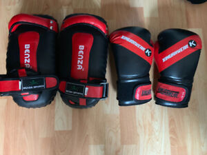 BOXING GLOVES + PADS + CENTURY BOXING BAG