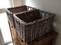 Two strong wicker storage boxes