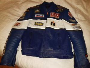 Icon Leather Motorcycle Jacket GSXR Blue XL