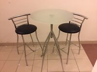 2 Chrome Stools & Table For Sale