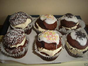 6 X LARGE HOMEMADE VEGAN CHOCOLATE CUP/FAIRY CAKES - PERFECT GIFT