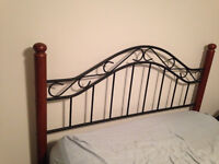 Queen size metal/ wood headboard with frame