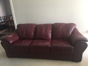 Genuine Leather Sofa With Matching Chair In Burgundy