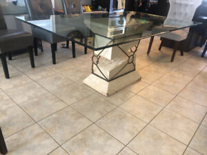 6ft glass top table with faux marble base.