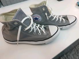 Converse Chuck Taylor High Tops in grey.