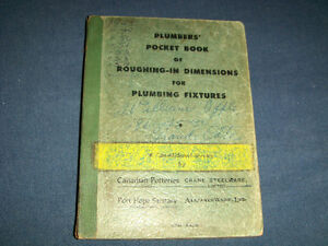 1950'S PLUMBER'S POCKET BOOK OF ROUGHING IN DIMENSIONS-RARE!