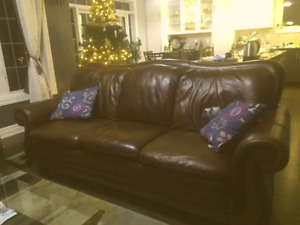 Free delivery: Beautiful leather sofa chair and glass table.