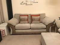 Settee 2 seater sofa suite couch cuddle chair footstool