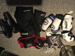 Kids hockey equipment.