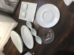 Various bowls and cheese tray