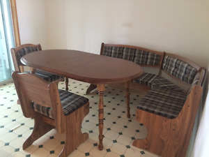 Wood Dining Room Table - Country Style with Banquet seating!
