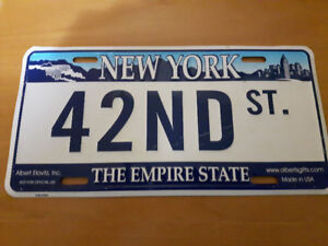 New York 42ND St. The Empire State tin plate number