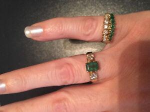 2 14K Yellow Gold Genuine Diamond & Emerald Rings