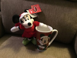 New Licensed Disney Mickey Mouse Mug and Stuffed Minnie Mouse