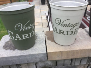 Painted and stenciled Sap Buckets