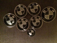 7 new black and white carbon bmw badges e46 e90 saloon coupe touring wheels