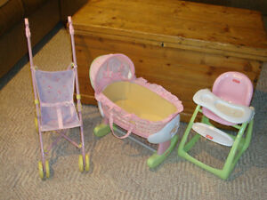Doll Stroller, High Chair, & Bassinet