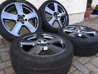 4 X GENUINE AUDI A3 RS6 ALLOY WHEELS AND TYRES EXCELLENT CONDITION SHADOW CHROME FINISH (ALLOYS)