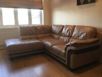 Leather corner sofa and matching two seater