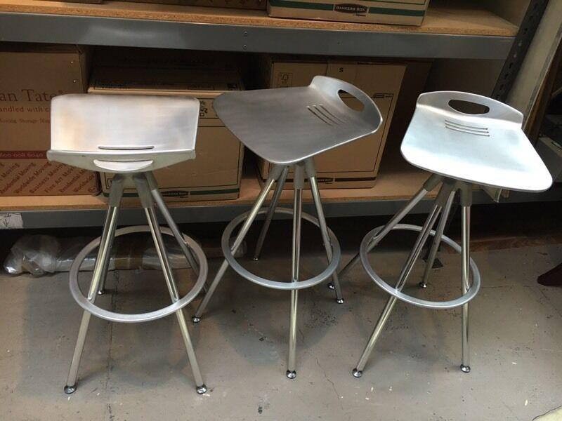 3x Indecasa Aluminium Bar Stools