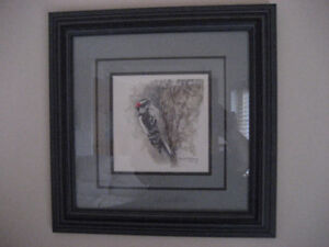 ROBERT BATEMAN WOODPECKER OPEN EDITION FRAMED