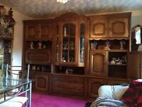Solid oak matching display cabinets and clock