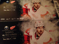 4 Red wing tickets for dec 1 and parking pass