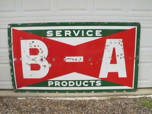 Porcelain B/A Oil Gas Advertising Sign