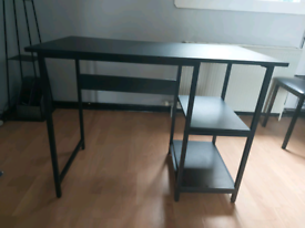 BLACK DESK AND BLACK CHAIR