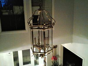 Brass & Glass Foyer Chandelier