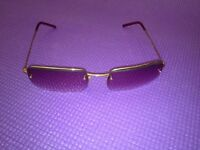 Gucci Sunglasses Gold Frame Semi Rimmed Eyeglasses Glasses GG 1653/S T7J