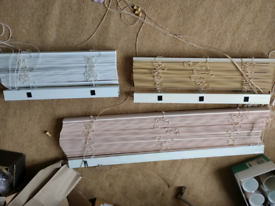 Set of three wooden blinds (white ones now sold). Like new condition
