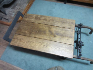 antique coffee table/ baggage scale