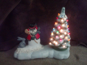Ceramic christmas tree and snowman