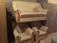 Cream leather suite new